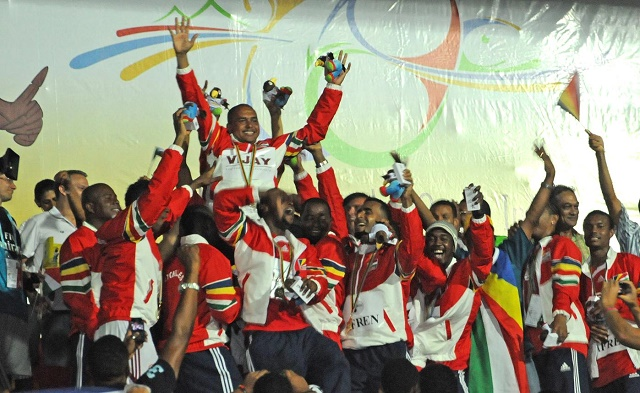 Victory: The Seychelles team celebrate after winning the gold medal in 2011