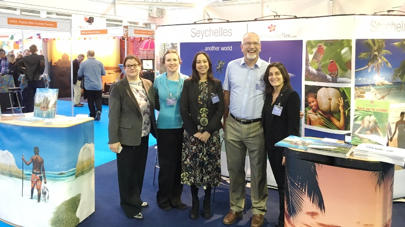 Experts: The team from the Seychelles stand at the Olympia travel show