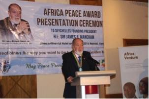 High praise: Sir James at the Africa Peace Award 2016 ceremony