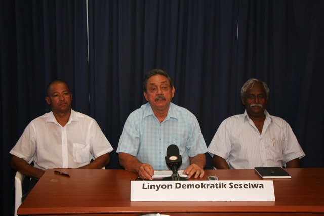 Contenders: The new Seychellois Democratic Alliance is led by Roger Mancienne (centre) of the Seychelles National Party