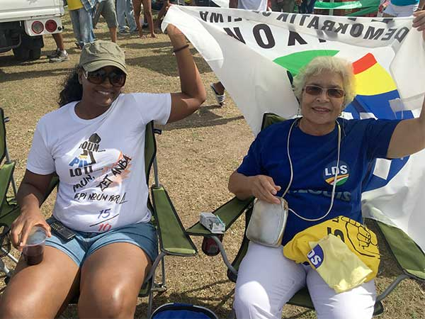 Carlette Ball (right) with a friend at the Rally