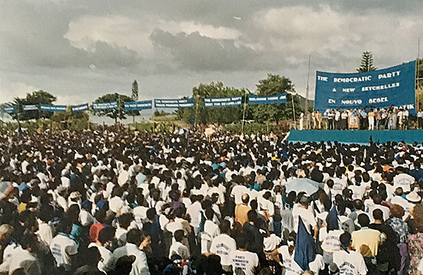 Moment of hope: Crowds gather as Sir James Mancham returns to Seychelles from exile in 1992
