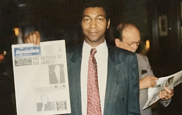 Campaign: Lewis Betsy with the front page of his newspaper The Seychellois International in 1990