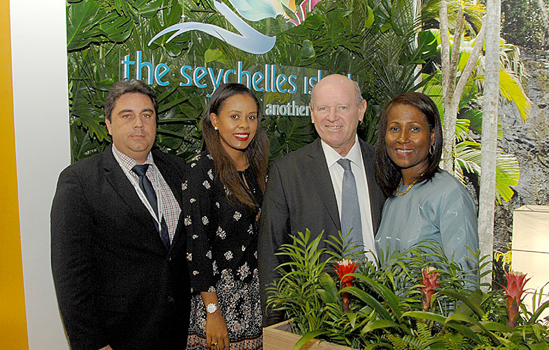Promoting Seychelles: Tourism CEO Sherin Naiken, centre with Tourism Minister Alain St. Ange, at the World Travel Market