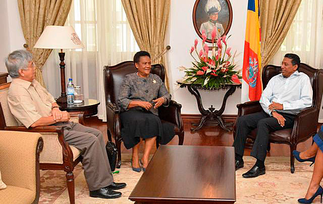 Honoured: Ambassadors Bernard Shamlaye and Marie-Pierre Lloyd with President Faure at State House