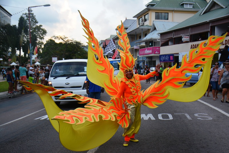 Blaze of glory: One of the artists on parade in Festival Kreol