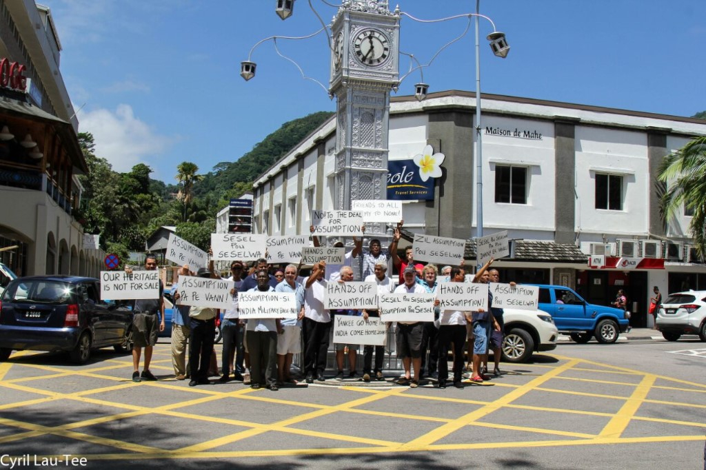 Outcry: Demonstrators gather at the Clock Tower in protest at the deal