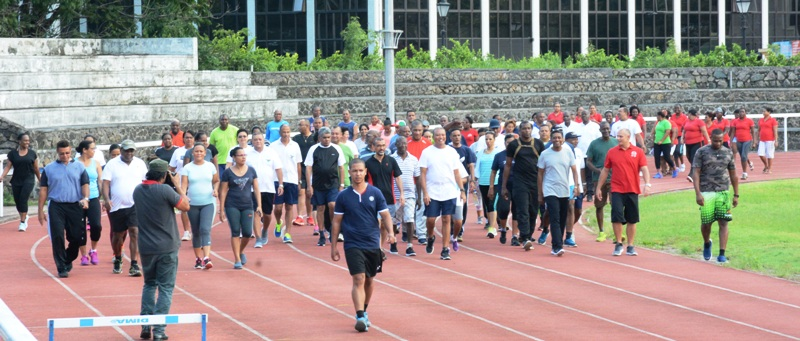 Caption:  Keeping fit: Campaigners show the way at the Stad Popiler