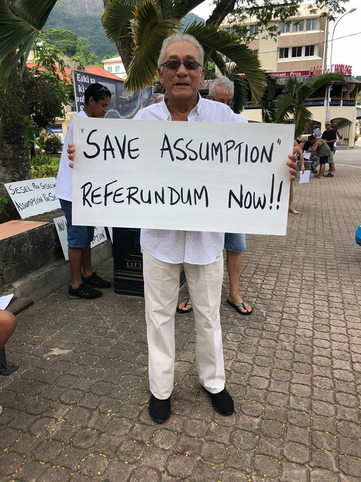 Protest: Campaigners against India's military presence on Assumption call for a referendum