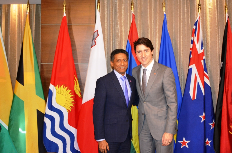 Praise: President Danny Faure with Justin Trudeau, Prime Minister of Canada