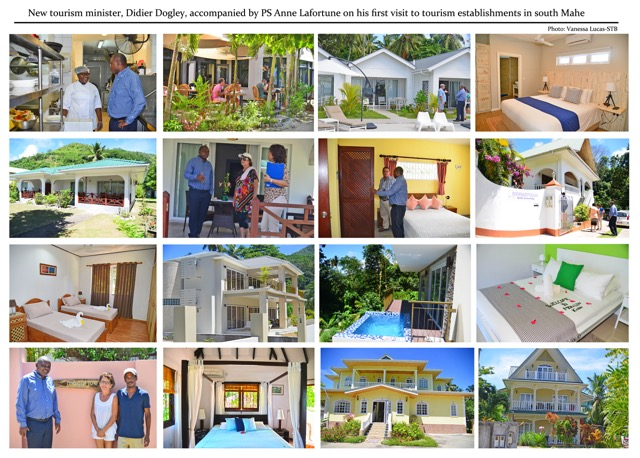 On the case: Minister Didier Dogley touring hotels in South Mahe