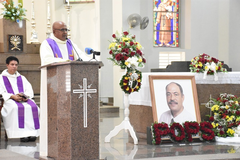 Tributes: Father Lonnie Adrienne at the service in the Cathedral