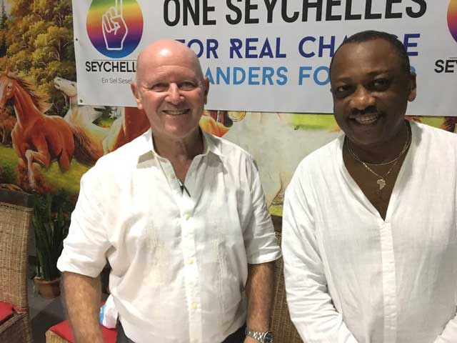 On a mission: Alain St Ange and Peter Sinon of One Seychelles