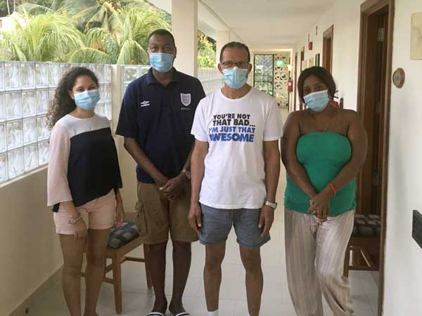 Mutual support: Left, Shanna Charlette, Lewis, Jude Monaie and Rena Baccarie at the Quarantine Centre in Berjaya