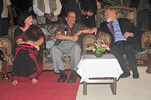 Relaxing: Lady Jugnauth, left,  Prime Minister Jugnauth and Sir James