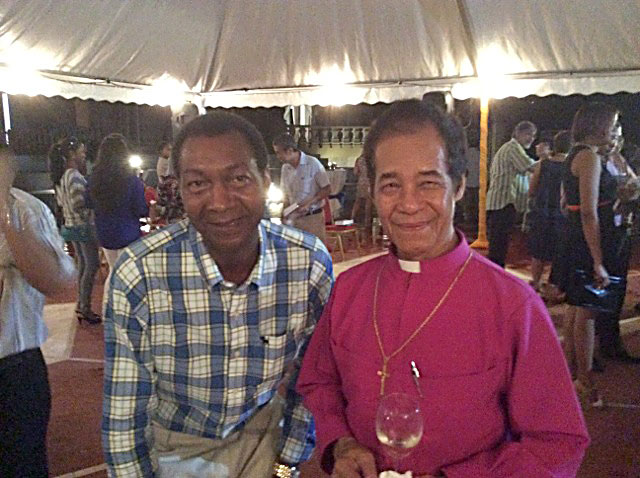 Guests: Lewis Betsy, Publisher of SeychellesLife, with Bishop French Chang-Him at the launch