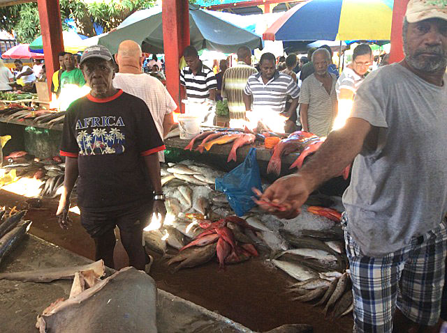 Vibrant: The fish stall is one of many at the Victoria Market