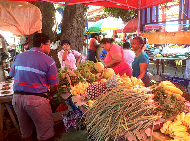 Rich harvest: The stalls are packed with many types of fruit