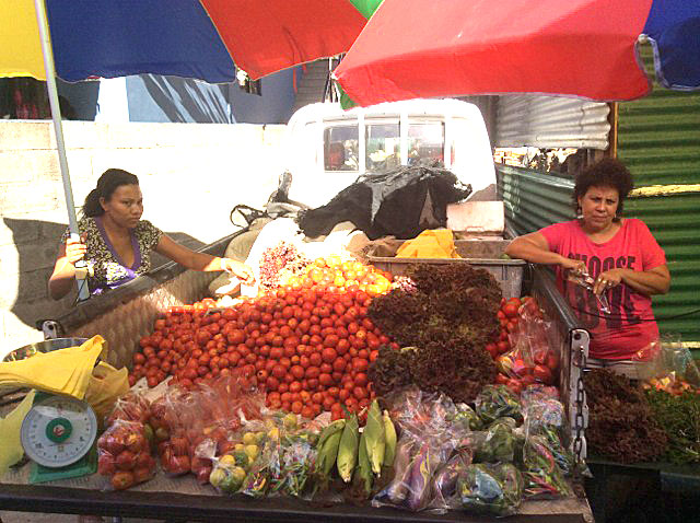 Goods by the lorryload:  Just look at the tomatoes that are up for sale
