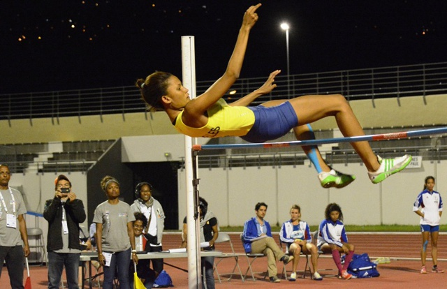 High point: Lisa Labiche succeeds in the high jump and takes first gold for Seychelles