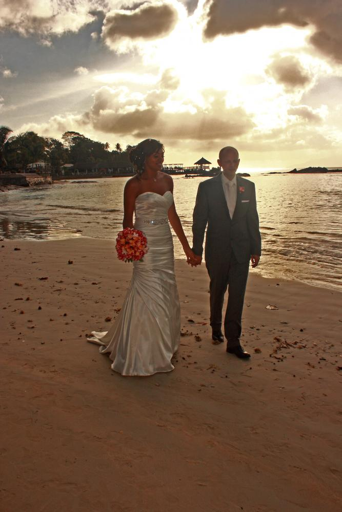 Magnificent setting: Lorraine and Marek on the beach