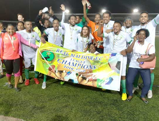 Ecstatic: The Real Maldives squad celebrate their promotion